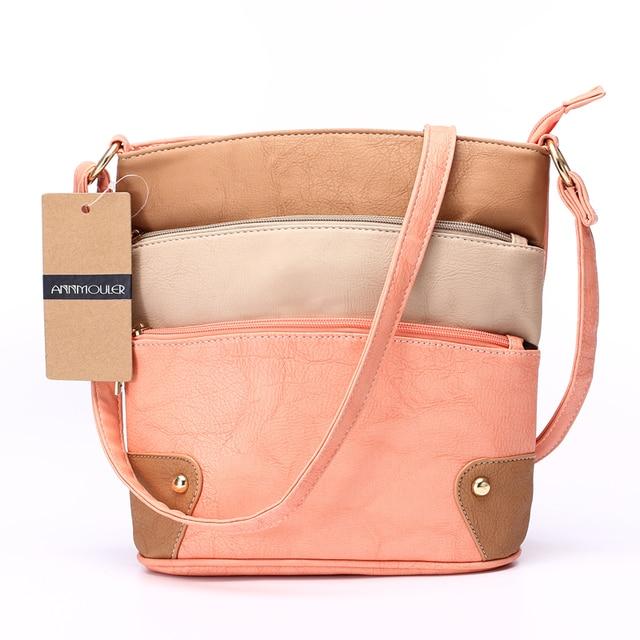 Women Patchwork PU Shoulder Bag 4 Colors Crossbody Bag Tote Bag Three Zipper Messenger Bag High Quality 3