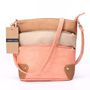 Image 4 - Annmouler Women Patchwork Shoulder Bag 4 Colors Crossbody Bag Tote Bag Three Zipper Messenger Bag High Quality Bolsos Mujer