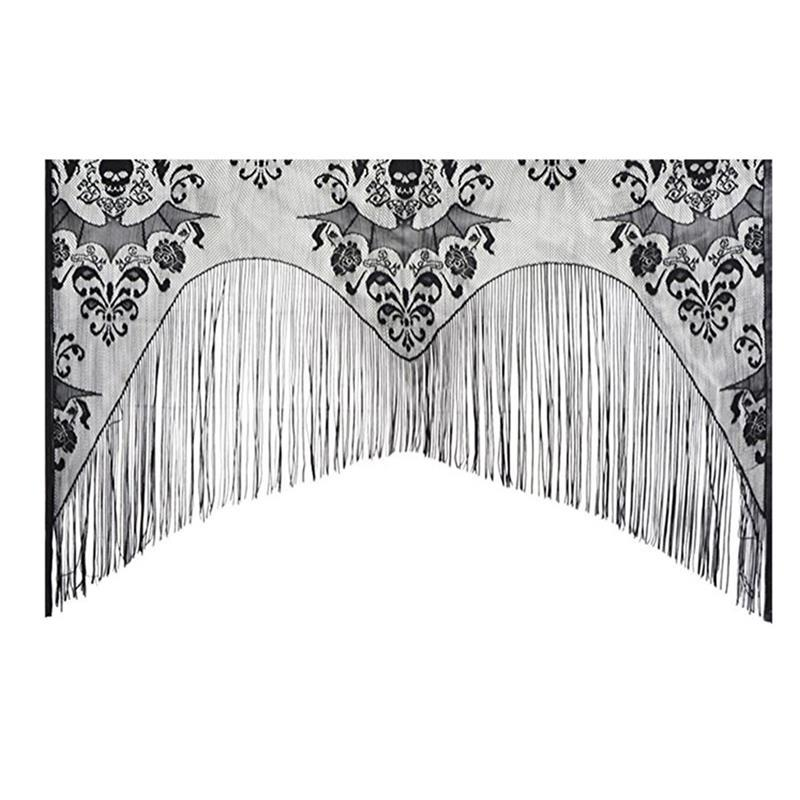 Halloween Window Curtain Lace Spider Web Skull Curtain Cover Curtain Valance With Tassel 38