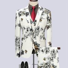 (jacket + waistcoat trousers) new suit fashion man host show tuxedo printed business club  three-piece