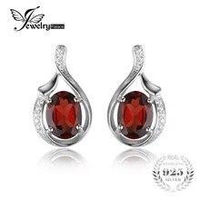 Jewelrypalace oval 3.3ct genuino rojo granate stud pure 925 2016 nueva moda de joyería fina para las mujeres