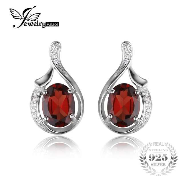 Jewelrypalace oval 3.3ct genuine vermelho garnet brincos pura prata esterlina 925 2016 new fashion fine jewelry para mulheres