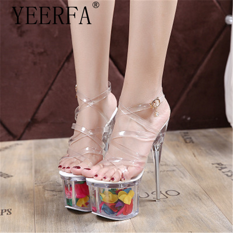 Fashion Plastic Women Sexy High Heel Sandals 18Cm Heeled With 7.5Cm Platform Shoes Women Summer Ladies Size 34-40 New 2018 12 0 917037