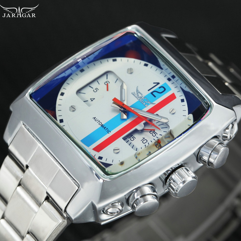JARAGAR Fashion Business Automatic Men Watches Stainless Steel Strap Small Sub-dials Display Square Case Top Brand Luxury Watch