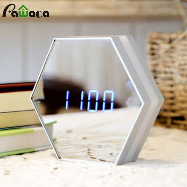 Многофункциональный светодиодный цифровой будильник ночник Температура Дисплей Зеркало термометр сенсорный зондирования настольная лампа путешествия Часы