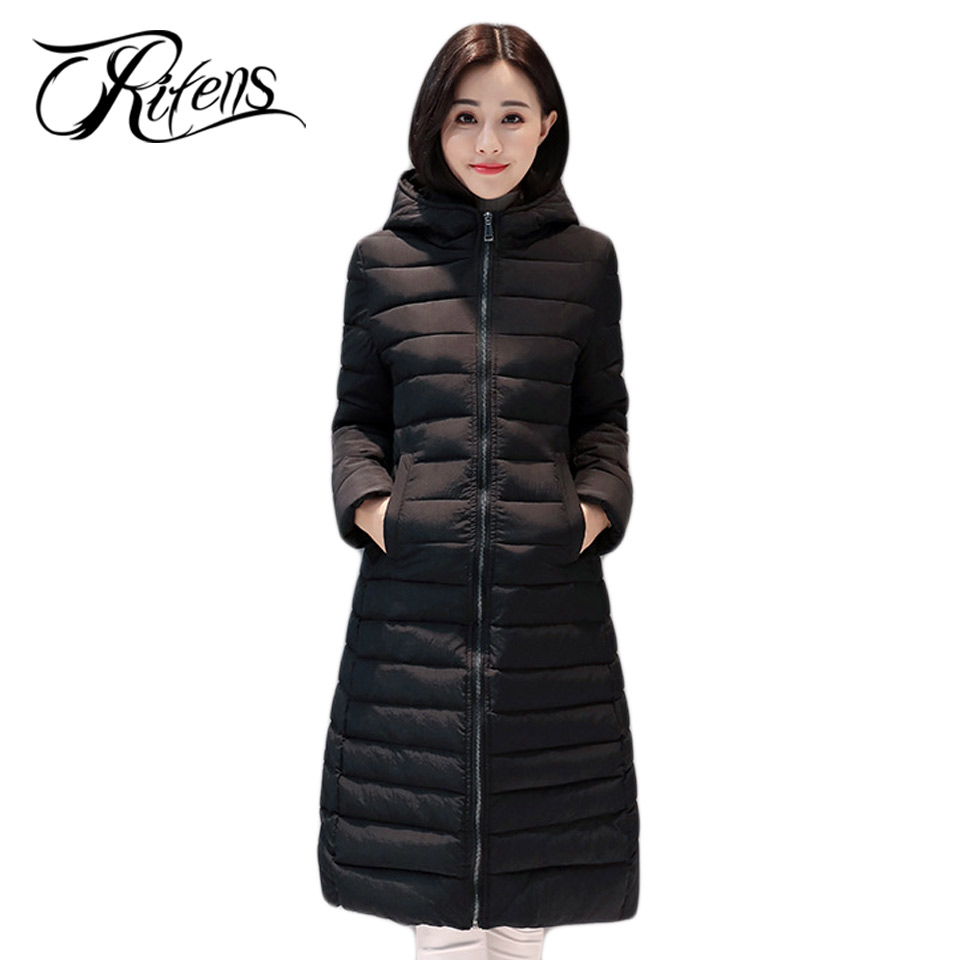 Urifens 2017 New Winter Down Cotton Padded Jacket Women Slim Thick Jacket Hooded Pockets Zipper Solid Long Coat LY01 m 4xl 2015 new fashion women winter down cotton padded coat female long slim thick jacket hooded zipper pocket outwear zs355