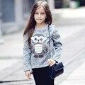 2017 Nova Primavera Chegada jaqueta Meninas Grandes Crianças dos Revestimentos do Revestimento Dos Desenhos Animados Coruja Bonito Da Menina do Algodão Roupas Casuais
