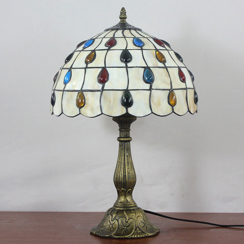 Desk Lamps Nice 12 Inch Stained Glass Table Lamp For Study Room Bar Restaurant Alloy Base Dest Lamps Mediterranean Style 0089