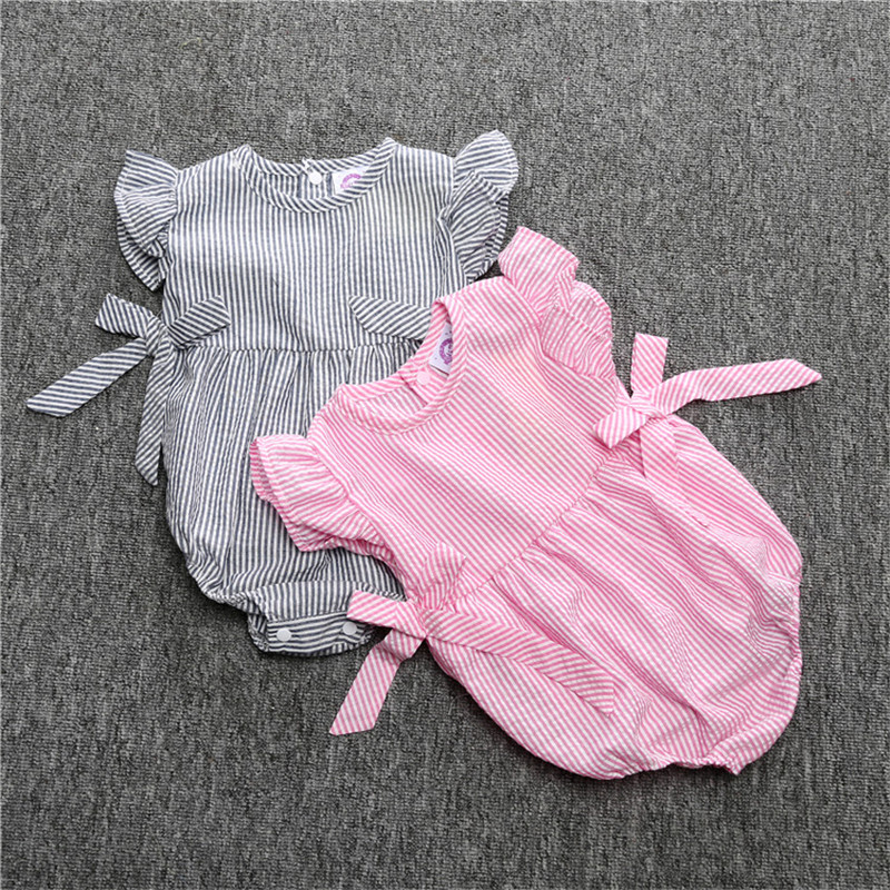100% Waar Baby Rompertjes Baby Meisje Pasgeboren Baby Kleding Gestreepte Katoen Bretels Mouwloze Rompertjes Suits Overall Cr074