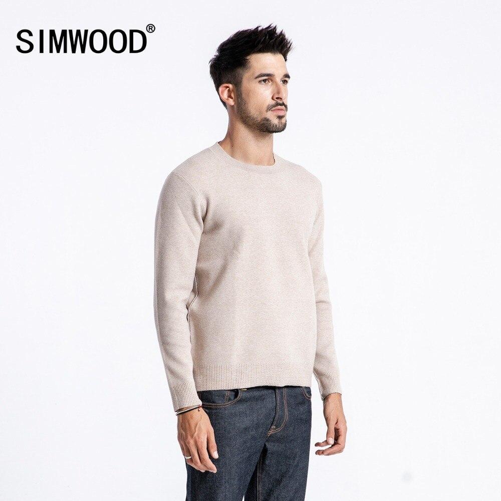 SIMWOOD 2018 осень зима новый свитер для мужчин Slim Fit сплошной цвет трикотажные пуловеры для женщин Дизайн Сырье оригинальный край одежда 180422