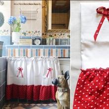 Новинка, занавеска для кухни, красная, белая, круглая, в горошек, лен, хлопок, половина, занавеска для кафе, для шкафа, гостиной, двери, декоративная занавеска, AA47