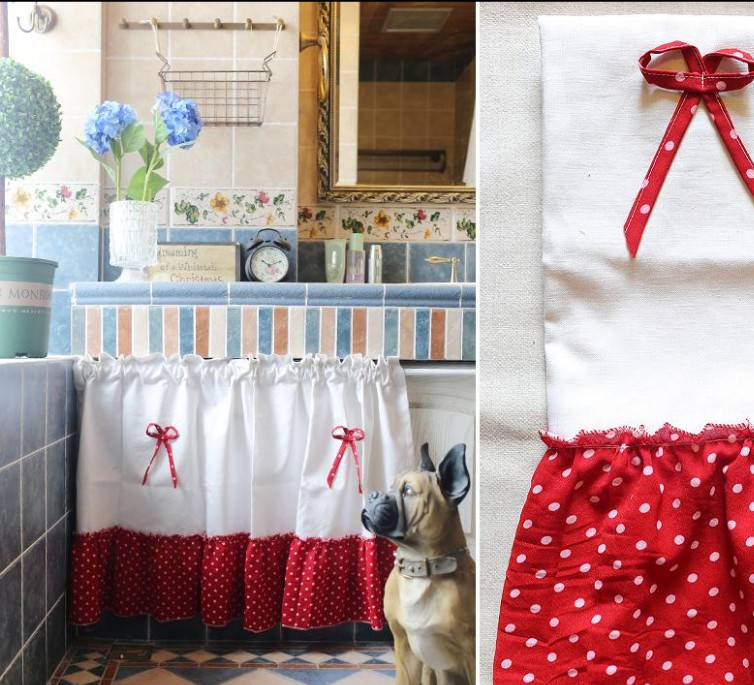 extraordinary cafe curtain living room   New Kitchen Curtain Red White Round Dot Linen Cotton half ...