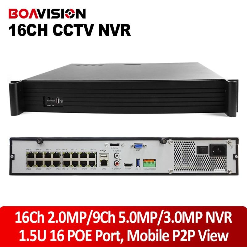 1.5U Casing CCTV Onvif NVR POE 16Ch 1080P/9Ch 5MP For Security POE IP Camera ,P2P,4*HDD Max Up 16TB,16Ch POE Port Power Supply 16ch poe nvr 1080p 1 5u onvif poe network 16poe port recording hdmi vga p2p pc
