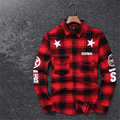 2016 Tyga cool oversized Shirts Tee men hip hop red Tartan Plaid top hba mma cotton Shirts kanye swag Apply to men/ women