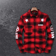 2016 Tyga cool oversized Shirts Tee men hip hop red Tartan Plaid top hba mma cotton Shirts kanye swag Apply to men/ women