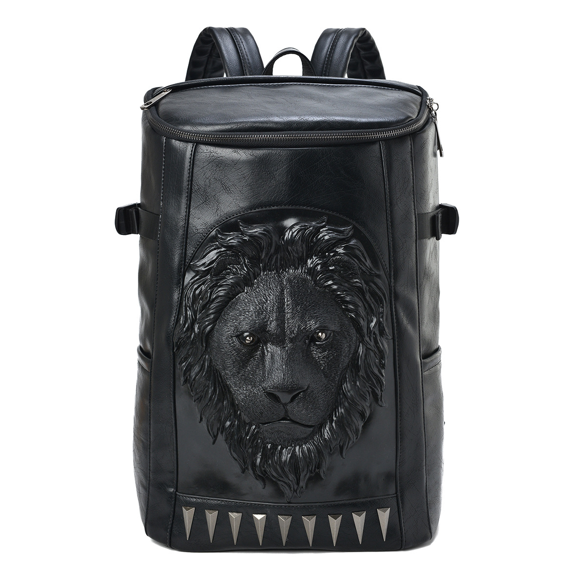ФОТО Fashion 3D lion head printed backpacks large capacity men's PU leather bags black rivet animal zipper travel mountaineering bags