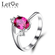 Leige Jewelry Oval Cut Ruby Ring Sterling Silver 925 Wedding Engagement Ring for Women Red Gemstone Fine Jewelry July Birthstons