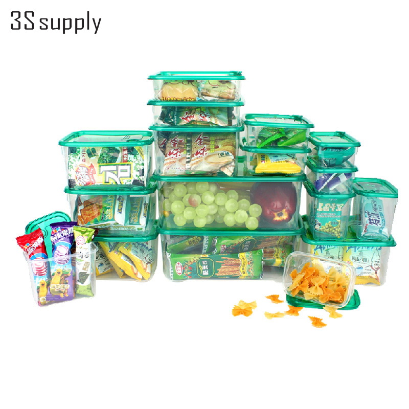 17pcs set Multi Purpose Plastic Kitchen Storage Organizer Storage Box For Refrigerator Crisper Food Container Kitchen