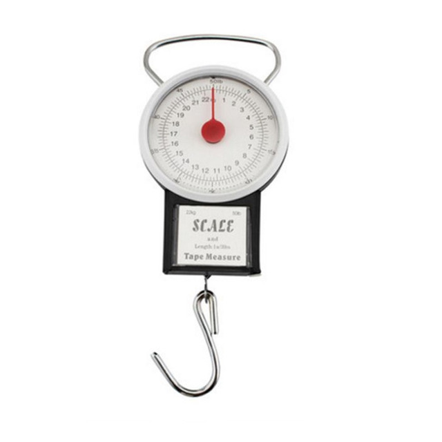 22kg Portable Hanging Scale Balance Fish Hook Said Weighing Balance Kitchen  With Measuring Tape Measure Fishing