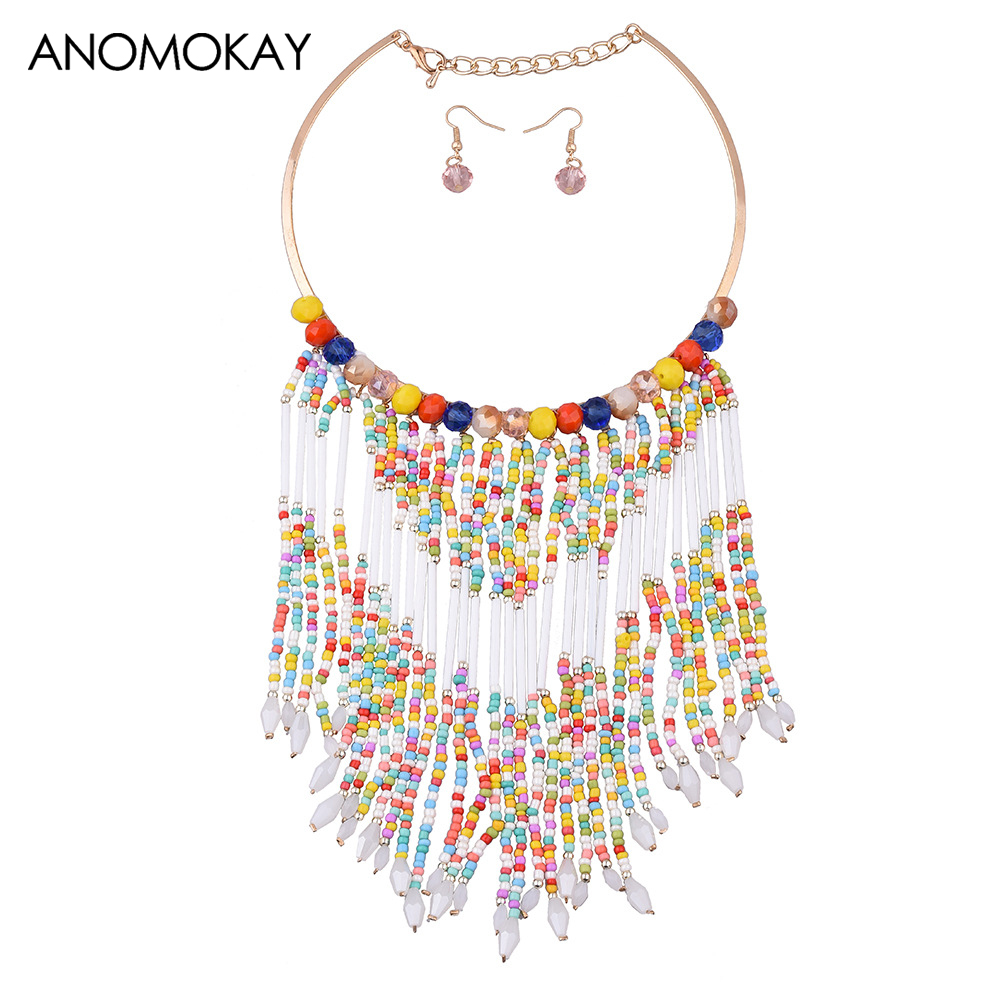 New Bohemia Style Colorful Bead Tassel Vintage Necklace Earrings Set Handmade Wave Leather Statement Necklace Jewelry Set