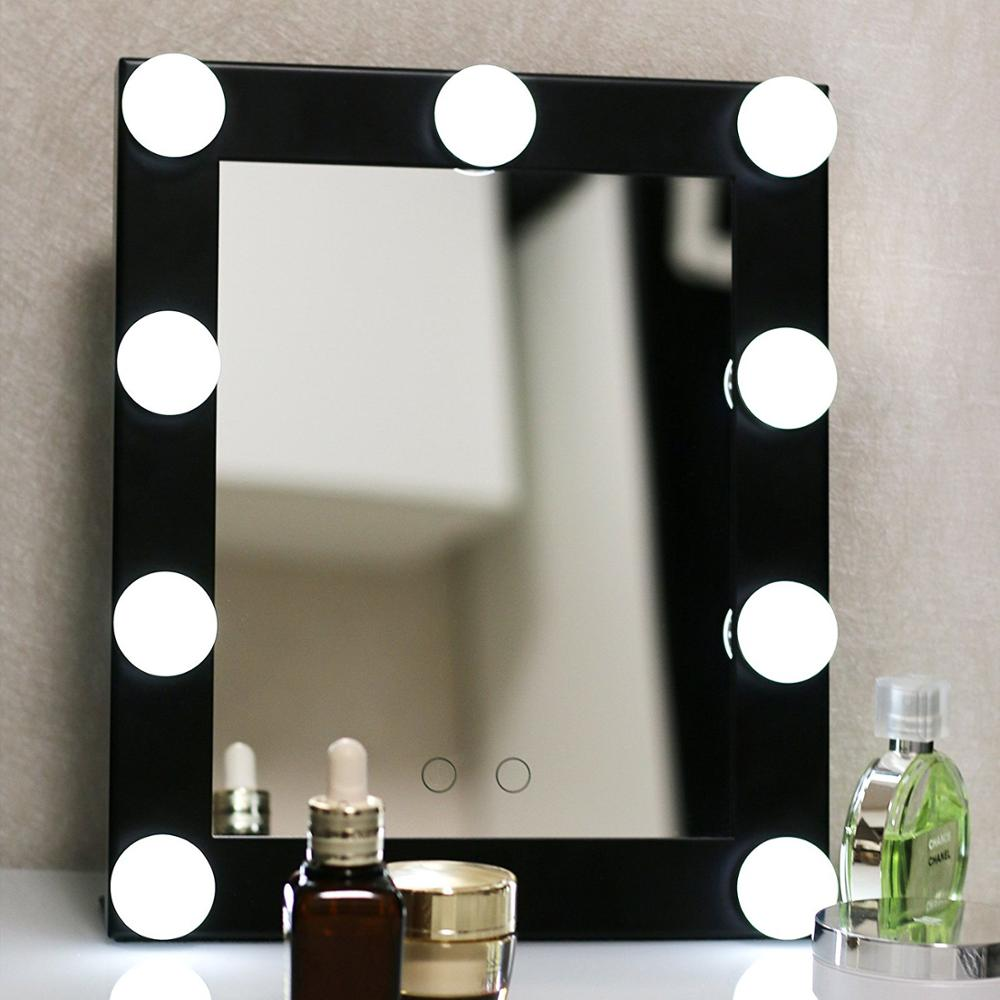 BEAUTMEI Free Shipping Vanity Tabletops Lighted Makeup Mirror With 9 LED Bulb Lights Touch Stage Screen Beauty Mirror beautmei hollywood led touch screen