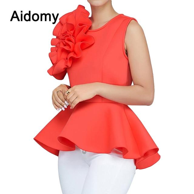 c66eb9a62c0f7e Summer Women Blouse 2018 Sleeveless Ruffles Womens Tops Elegant Ladies  Evening Party Wear Applique Peplum Top