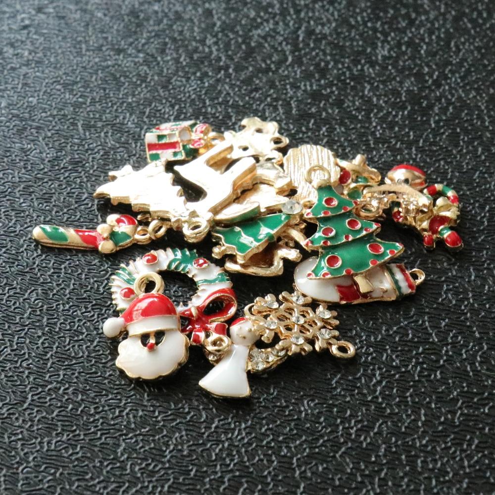 19pcs Mixed Christmas Hanging Ornaments DIY Jewellery Pendants Xmas Decoration