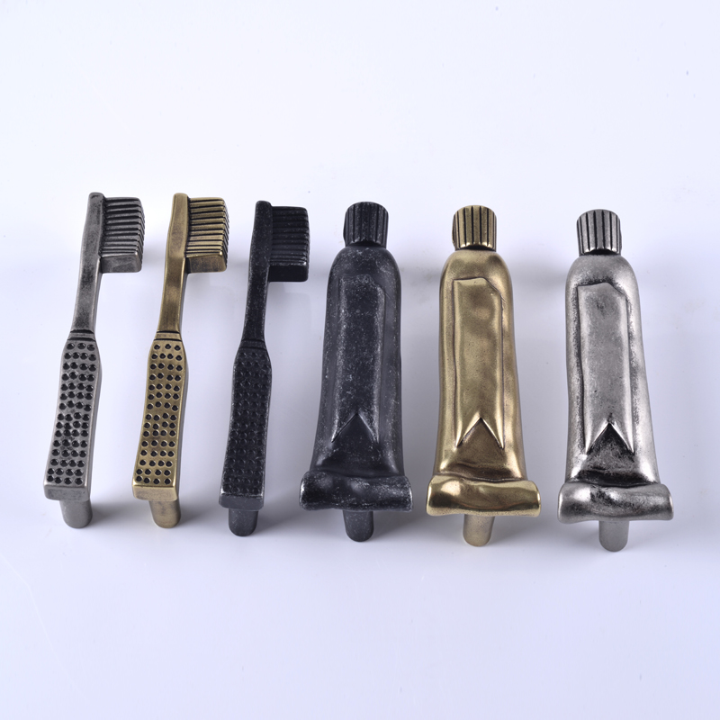 "3"" Toothbrush Toothpaste Drawer Pull Handles Bathroom Cabinet Pulls Door Handle Knobs Antique Black Silver Brass Pewter 76mm"