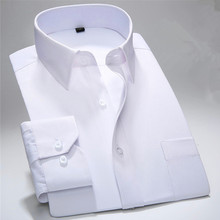 2019 Spring New Men Dress Shirt Pure Color Long Sleeve Black Man Work Wear Male Brand Business Classic Fit Twill Fashion YN10268