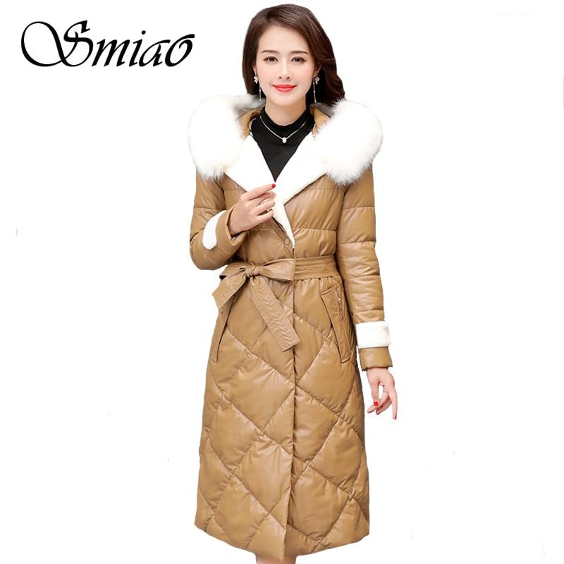 Fur Collar Women's   Leather   Jacket Winter Down Jacket Warm Plus Size 5XL Long Parka Female Coat Women High Quality Hooded Jacket
