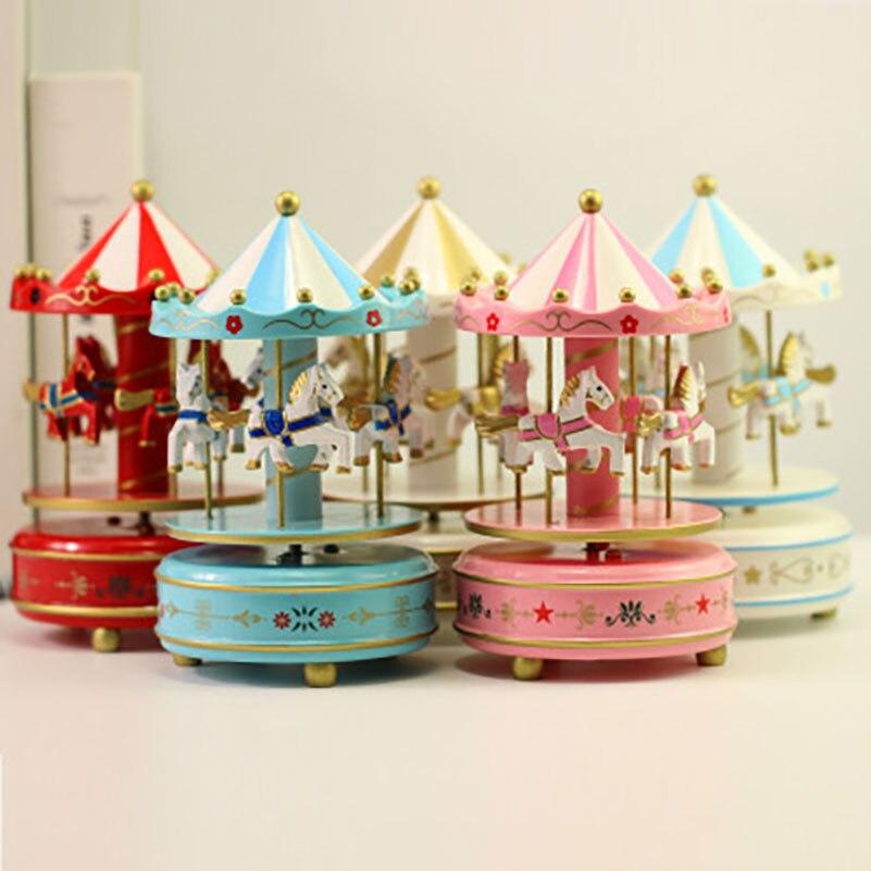 Wedding Music Box Gift: New Merry Go Round Musical Carousel Horse Music Wooden Box