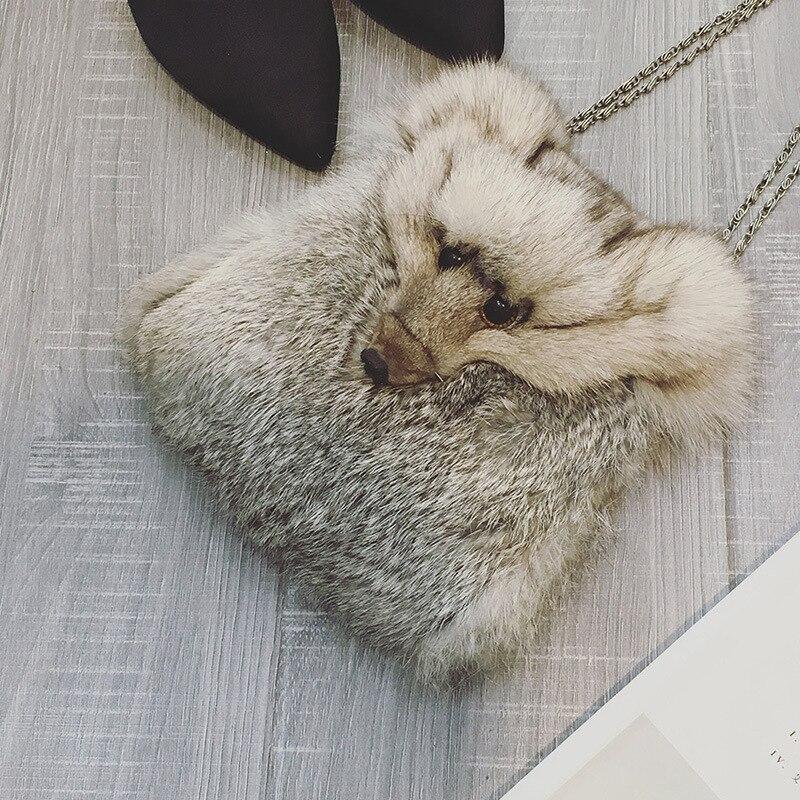 где купить Fox  Faux Small Fur Women Shoulder Bag Fuzzy  Fashion  Lady  Handbags Chain Crossbody Bag For Girls Animal Pattern по лучшей цене