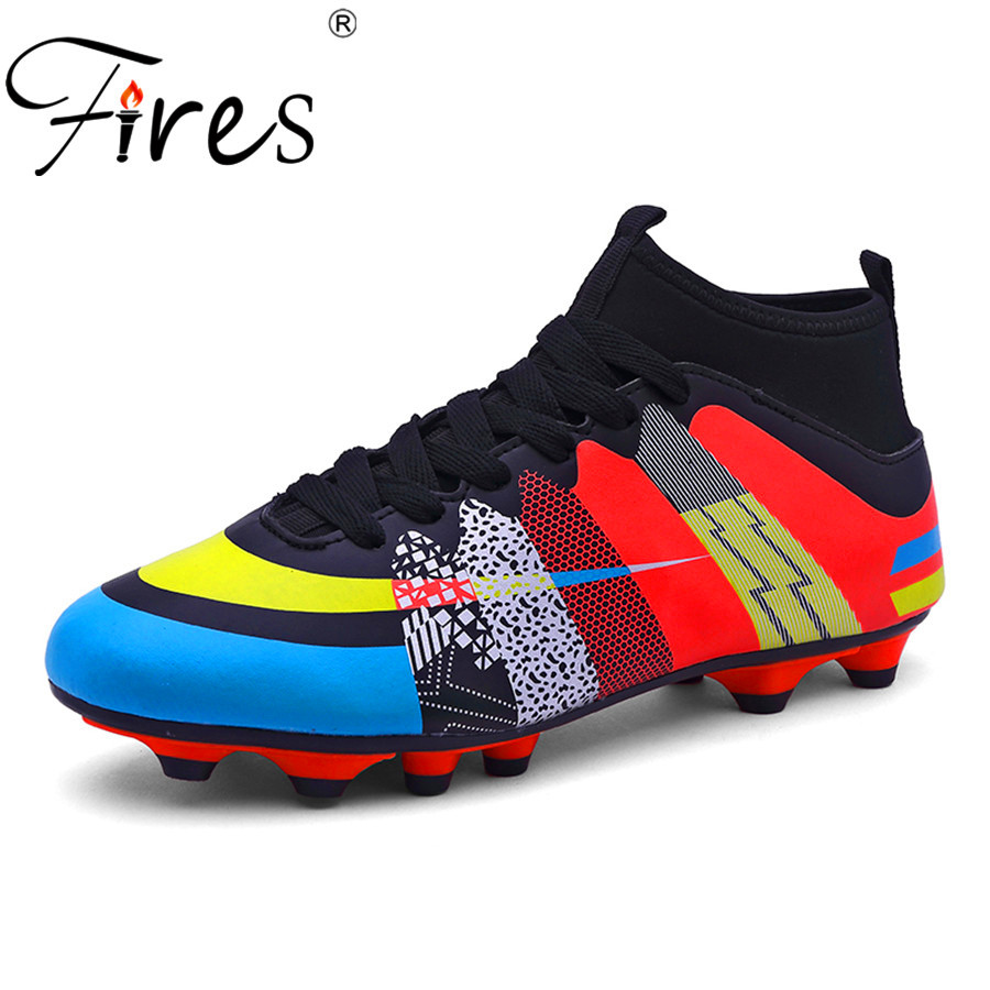 Fires Long Spikes Soccer Shoes Boots For Men Outdoor Sports Football Shoes Boot  2017 Men High Ankle Original Football Shoes-in Soccer Shoes from Sports ... a5500da4f04