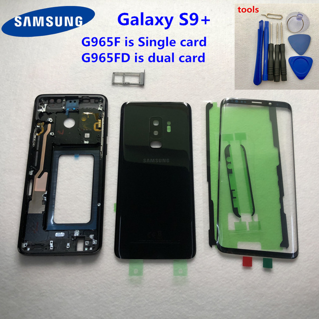 Original For Samsung Galaxy S9 Plus G965 G965F G965FD Full Housing Case Glass Rear Battery Door Case Middle Frame Front Glass