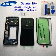 Original Para Samsung Galaxy S9 Plus G965 G965F G965FD Caso Porta Da Bateria De Vidro Traseiro Caso Habitação Completa Oriente Quadro Frente vidro