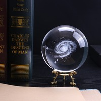 100 mm K9 Crystal Galaxy Ball 3D Laser Engraved Miniature Model Sphere Home Decor Gift for Astrophile Ornament