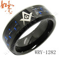 Wholesale Custom Black and Blue Carbide Fiber Inlaid Black Tungsten Carbide Ring 8mm Massonic Engraved fashion Mens Ring