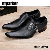 Ntparker 2018 hot prawdziwej skóry Kwadratowych toe czarny mężczyźni ubierają oksfordzie Buty slip-on men leather Biznes Party Shoes, EU38-46!