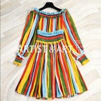 Svoryxiu High End Пользовательские 100% шелковое платье Осенняя женская обувь отпуск цветов с принтом в полоску для подиума пикантные с открытыми пл