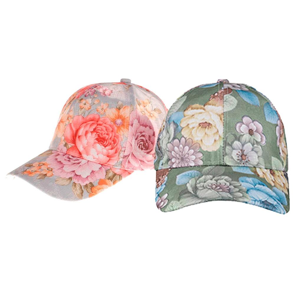 Fashion Baseball Cap women men adjustable Rayon summer Messy Bun Floral Print Sun hats gorra hombre#pingyou(China)