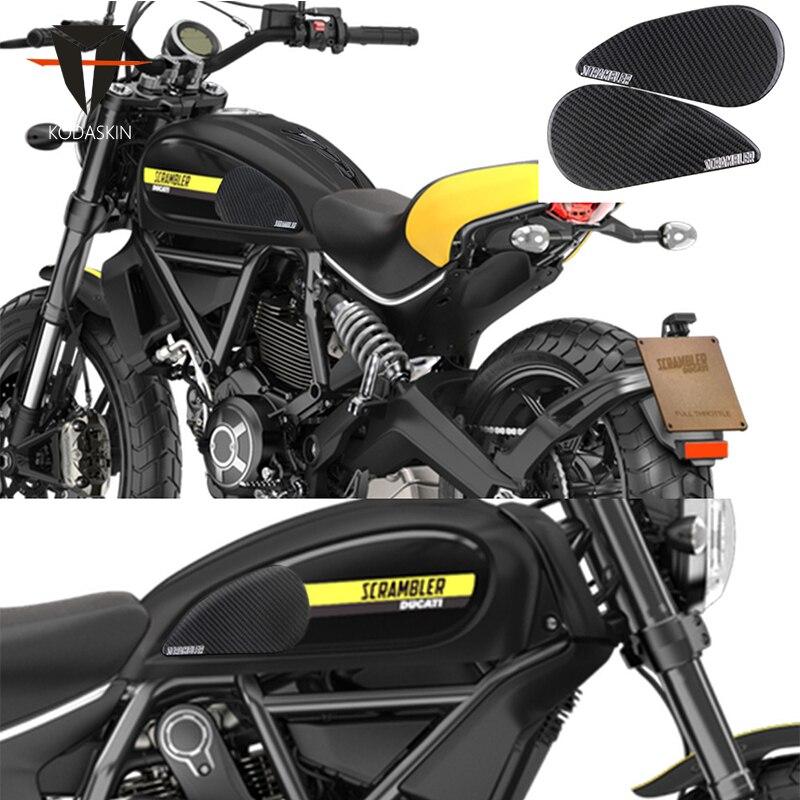 KODASKIN Motorcykel 3D Carbon Tank Pad Klistermærke Dekal Emblem GRIPPER STOMP GRIPS Nem til SCRAMBLER