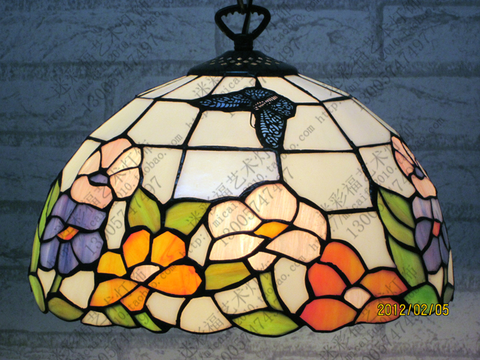 12 Inch Flesh Country Flowers butterfly  Tiffany pendant light  Stained Glass Lamp for Bedroom E27 110-240V12 Inch Flesh Country Flowers butterfly  Tiffany pendant light  Stained Glass Lamp for Bedroom E27 110-240V