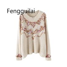 Vintage Chic Sequins Appliques Loose Knitted Sweater Women 2019 Fashion Long Sleeve O Neck Ladies Pullovers Casual Pull Femme