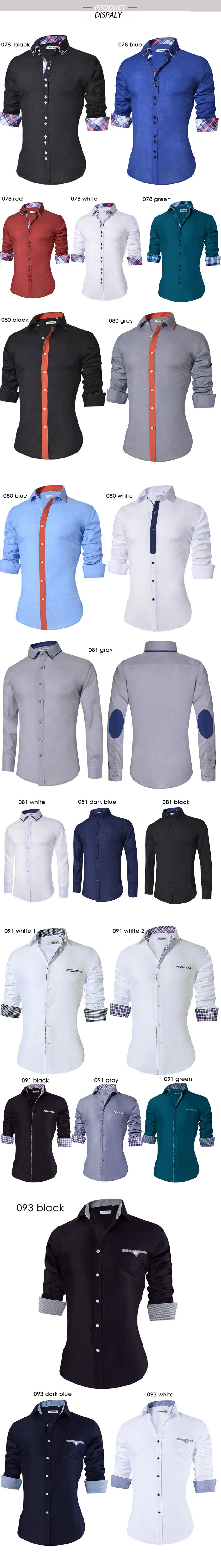 18 Men's Casual Shirt Slim Fit Men's Casual Button Down Shirt Long Sleeve Formal Dress Shirts Men Male Clothing Camisa 6