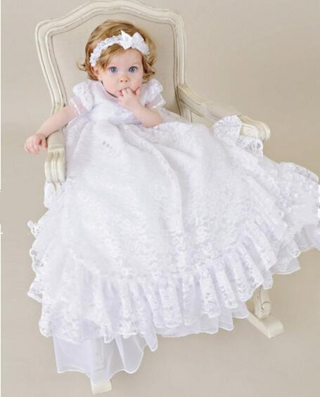 Baby Infant Vestidos Christening Dress Todder Baptism Gown Lace Satin White/Ivory WITH HEADBAND