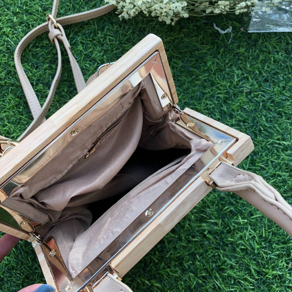 Vintage Woven Straw Bag Wooden Top Handle Clip 5