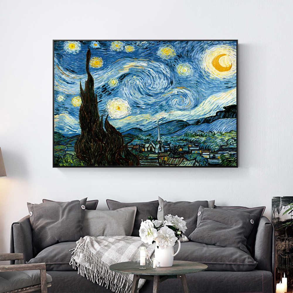 MOLEK DIY Oil Painting By Numbers Kit Van Gogh The Starry Night Coloring Painting on Canvas Gift for Home Decor Wall Art Picture