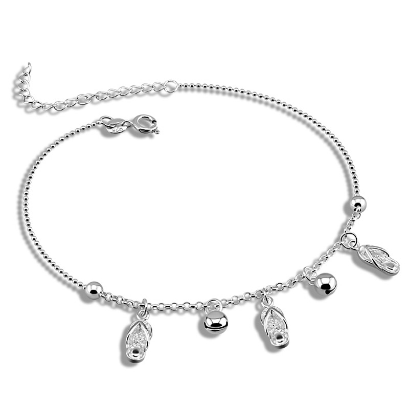 Fashionable ball Anklets Lovely anklets woman solid 925 silver 28 cm shoes pendant anklets Sterling silver