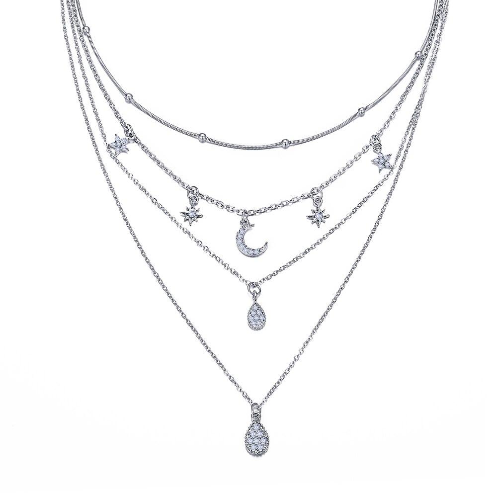 Многослойный Кристалл лунные ожерелья и кулоны для женщин винтажное очаровательное Золотое колье ожерелье богемное ювелирное изделие - Окраска металла: CS050063