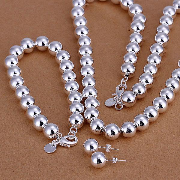 все цены на S082 925 Hot Selling silver jewelry set, fashion jewelry set 10Mm Bean Three-Piece /ajnajaua avfajmma